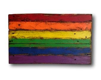 Wood Pride Flag / Gay Pride Flag / LGBT Flag / Pallet Pride Flag / Pride Gift / Gay Pride Art / Rainbow Flag