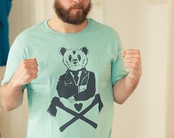 Bruno bear - men - bio fair wear T-Shirt - Heather Mint