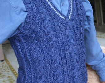 Men's Sweater Vest, hand-knitted gift