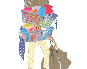 Archival Art Print - Laundry, Laundry Room Art, Parenting, Rainbow, Parent Life, Laundry Bag, Laundry Basket, Collage, Polkadot