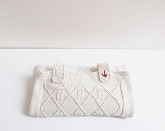 Cotton Cream Knitting Tote Bag