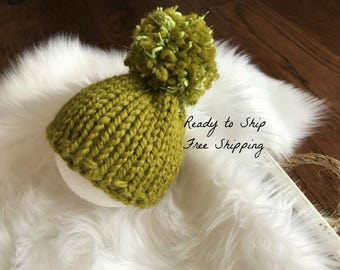 Ready to Ship Knit Newborn Hat - Knit Baby Hat - Newborn Beanie Baby Hat - Newborn Pom Pom Baby Hat - Newborn Infant Photo Prop