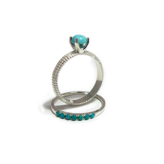 Turquoise Wedding Ring Set Bands Silver