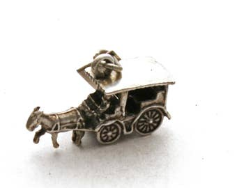 Horse and Carriage Bracelet Charm Bell Sterling Silver Stage Coach Mackinac Island Michigan
