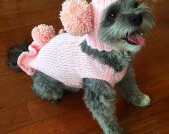 Pink dog sweater, dog hat, dog accessories, maltese clothes, chihuahua sweater, yorkie clothes, boston terrier hat, Italian greyhound hats