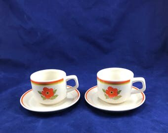 Vintage Lenox Fire Flower Orange Temper Ware Ceramic Tea/Coffee Cups and Saucers in Excellent Condition (Set of 2)