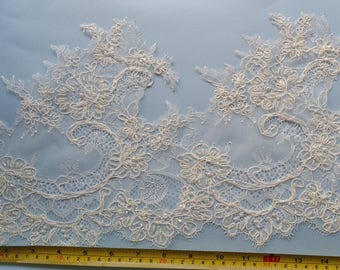 French Chantilly lace trim - premier quality, beautifully beaded - sold per half yard - 1/2 yard