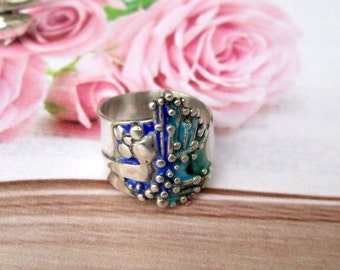 Ring 925 Silver Emaillie Gr. 57, sterling silver ring US size 8.0 UK size P 1/2