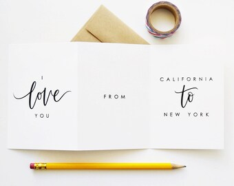 CUSTOM Long Distance Relationship Card / I Love You from...Custom State or Country, Hand Lettered Card / A1 Tri Fold / Charitable Donation