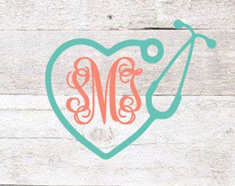 Stethoscope Monogram Heart Decal | Nurse Monogram Decal | Vet Monogram Decal | Nurse Yeti Decal | Nurse Clipboard Decal | RN Decal | Sticker