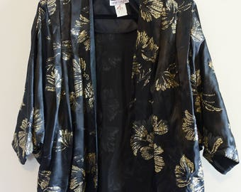 Vintage Black and Gold Glitter Open Floral Kimono Batwing Cocoon Top