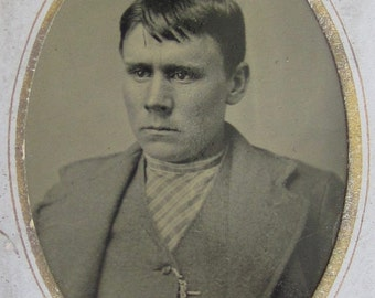 The Tough Guy - 1880's Young Man With Attitude Tintype Photograph - Free Shipping