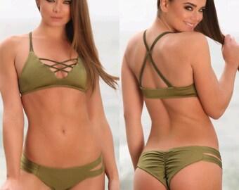 Olive Green Bikini Set- Brazilian Cheeky Bikinis Bottoms- Strappy Bikini Top- Olive Green Swimwear- by Sweet Treat Bikinis