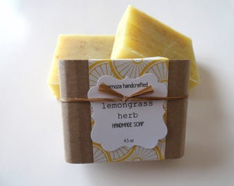 Handmade Lemongrass Herb Soap, Cold Process Soap, Vegan Soap 4.5oz
