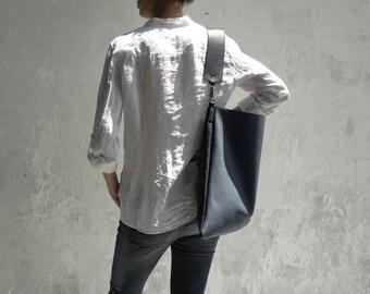 Leather Hobo Bag 10%off/Leather Shoulder Bag/Large Leather Slouch Bag/Big Leather Hobo Bag/Navy Blue Hobo Bag/READY TO SHIP