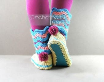 Crochet pattern:women boots on felt soles,all women sizes,loafers,slippers boots,adult,girls,felt soles tutorial included,teen,footwear