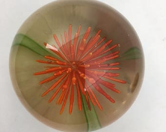 Vintage Hand Blown Art Glass Floral Paperweight Orange Chrysanthemum or Dahlia Flower