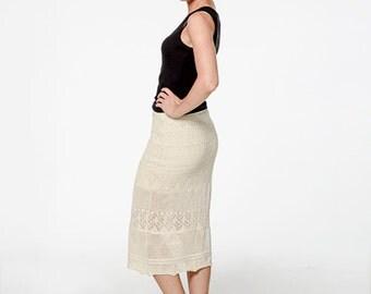 Organic Cotton Marbella Lace Skirt