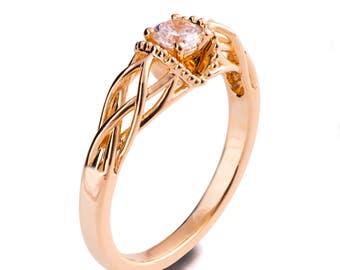 Knot Engagement Ring, 18K Gold Diamond engagement ring, Celtic ring, engagement ring, Twist engagement ring, Milgrain engagement ring, ENG22