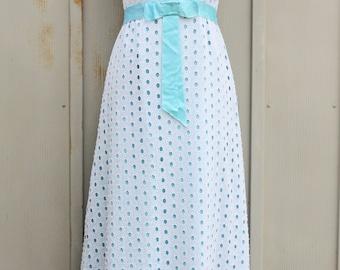 White Eyelet Dress - 50s Prom Dress - 1950s Gown - Vintage Polka Dot Dress - 60s Rockabilly Dress - 1960s Sleeveless Maxi Dress - Mod Dress
