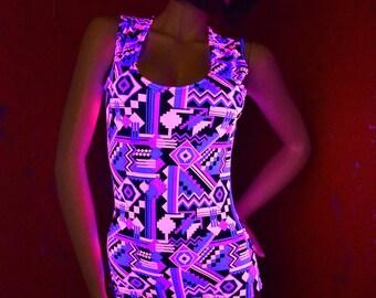 Neon Pink & Black Aztec Print UV Glow Sleeveless Romper Bodysuit Onsie (No Hood) Rave Festival Clubwear 154063