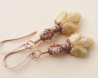 Cream earrings, Czech glass earrings, leaf earrings, cream glass leaf earrings, rustic copper and bronze earrings, lightweight neutral drops