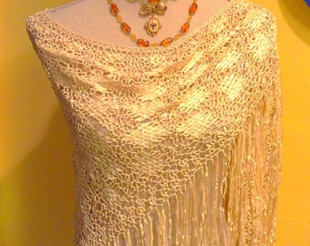 Vintage beige color handmade triangle scarf shawl with fringes, wrap scarf, triangle scarf, triangle Shawl ,Gatsby handmade crochet shawl