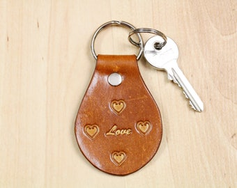 Inspirational Love Hearts Keychain Leather Keychain Unique Gift for Girlfriend Leather Anniversary Gift For Wife Love Keychain Love Key Fob
