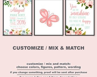 Floral baby Birth Announcement, butterfly baby room art, bohemian baby girl decor, floral nursery, personalized baby decor PRINT/CANVAS/DIGI