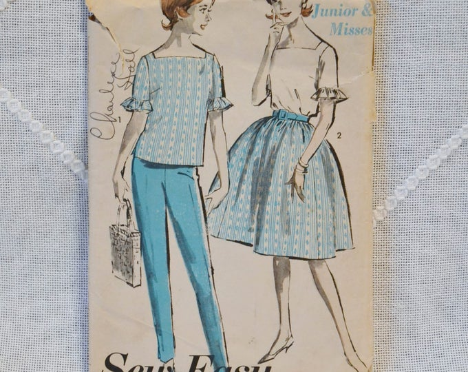 Vintage Advance 2921 Sewing Pattern Crafts Misses Top Skirt Pants Size 14 DIY Sewing Crafts PanchosPorch