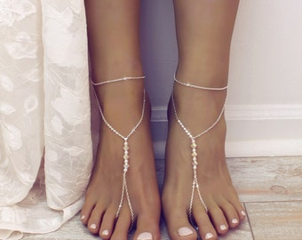 Minimalist Swarovski Barefoot Sandals Foot Jewelry Swarovski Anklet Bare Foot Sandals Beach Wedding Jewelry Foot Thong Slave Anklet