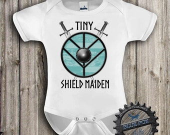 Tiny Shield Maiden Baby clothes,Funny baby clothing,Geekery baby,Viking baby,Vikings,Baby clothes,Baby bodysuit,Blue Fox Apparel_GBS100