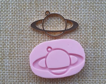 2 x 4 cm mold silicone rubber for resin planet bezel