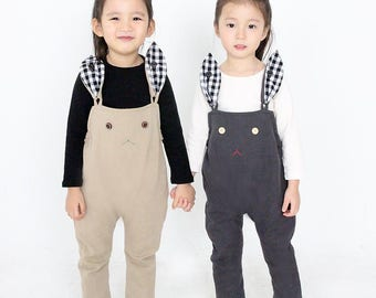 baby sewing pattern pdf/ kids long suspender pants with bunny / strap pants / children clothing/Toddler sewing pattern/ 6M-6years