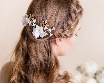 Bridal Flower Headpiece - Floral Hairpiece - Wedding Hair Pins - Bohemian Hair Adornment - Bridal Clip