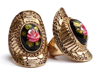 Painted Rose Victorian Ring Boho Chic Romantic Jewelry FREE SHIPPING