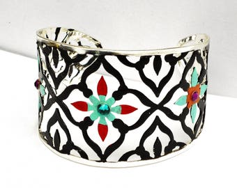 Silver Filigree Boho Cuff Bracelet Painted Bohemian Jewelry FREE SHIPPING