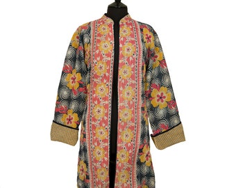 KANTHA JACKET - XX Large - Long style - Size 18/20 - Black and coral. Reverse beige and ochre.