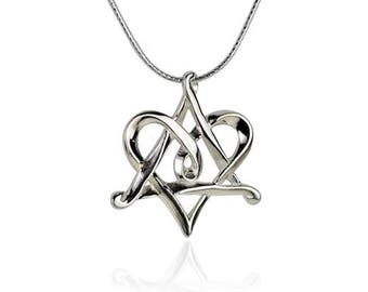 Sterling Silver Star Of David Heart Love Judaica Necklace Unique Designed Pendant