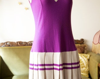 1960s purple and grey mod scooter dress