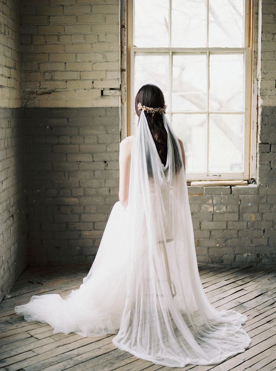 draped veil, silk veil, ivory bohemian wedding veil, silk draped veil, bohemian veil, bridal draped veil, silk wedding veil - MARIA