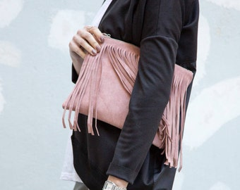 Suede leather fringes clutch, in pink or gray