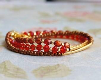 Seed Bead Bracelet Set, Stacking Bracelets, Gold Tube Bracelets, Gold And Red Bracelets, Glass Bead Bracelets, Beaded Bracelets
