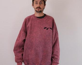 Pink Acid Wash Feathers Oversized Sweatshirt 3XL