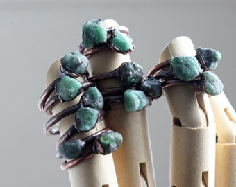 Raw Emerald Ring Electroformed Copper Ring Stone Ring Natural Stone Emerald Birthstone Green Ring Taurus Jewelry