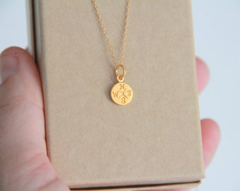 Compass Gold Necklace, Compass Gold Necklace, Necklace, Gold Necklace, Gold Necklace,Bridesmaid Gift