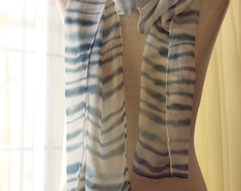 Silk Chiffon Scarf Hand Painted Silk Scarf Striped Silk Scarf