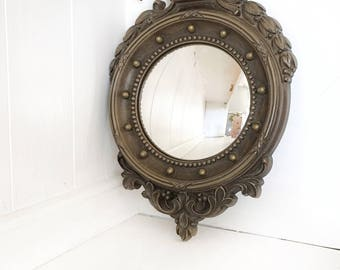 Vintage Homco Nautical Fisheye Mirror|Homco 2340 Convex Mirror|Mid Century Porthole Small Hall Mirror