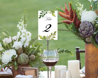 Table Numbers - Simple Greens Wedding Table Numbers - 4x6 Wedding Table Signs 1-40 - Reserved Sign - Head Table - Instant Download