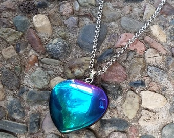 RAINBOW HEMATITE HEART Necklace, Rock Jewelry, Geo, Crystal Necklace
